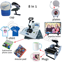 For Epson T50 printer & 8 in 1 combo sublimation transfer machine heat press printer for Plate Mug Cup Hat T Shirt(China)
