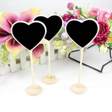 6Pcs/lot Mini Wood Chalkboard Blackboard Wooden Place Card Holder Table Number for Wedding Decoration Event Party Supplies(China)