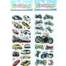 2pcs/lot Children Boys Various Cars and Motorcycle 3D Cartoon Stickers Best Christmas Gift Stickers for Baby Boys #ST006