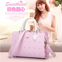 2017 Sweet Pink Luxury Handbags Women Bag Designer Pouch High Quality Female Rivet Shoulder Bag Premium Lady Purple Bow Tote Bag
