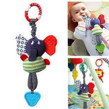 2017 Hot Cute Musical Elephant Lathe Hang Baby Kids Cute Soft Dolls Educational Teether Toys For Kids Babies Lovely Toys 1Pcs
