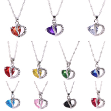 Heart Crystal Pendant Necklace for Girls Kids Children Link Chain Rhinestone Necklace Crystal Jewelry Decor 2017 HOT SALE