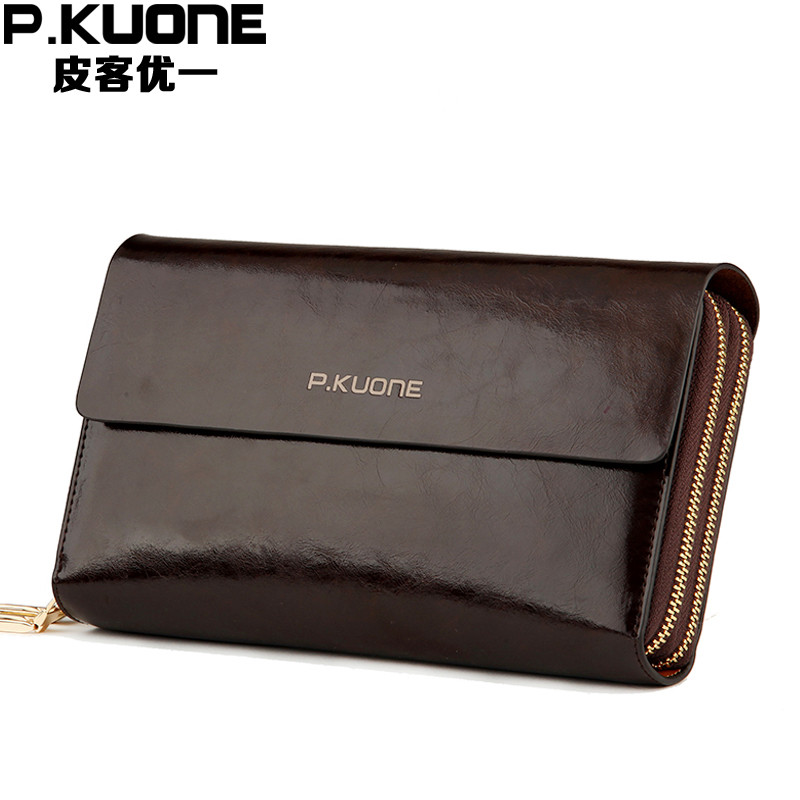 Luxury Shining Oil Wax Cowhide Men Clutch Bag Long Genuine Leather men wallets Double Layer Business Clutches Purse 2017 New<br>