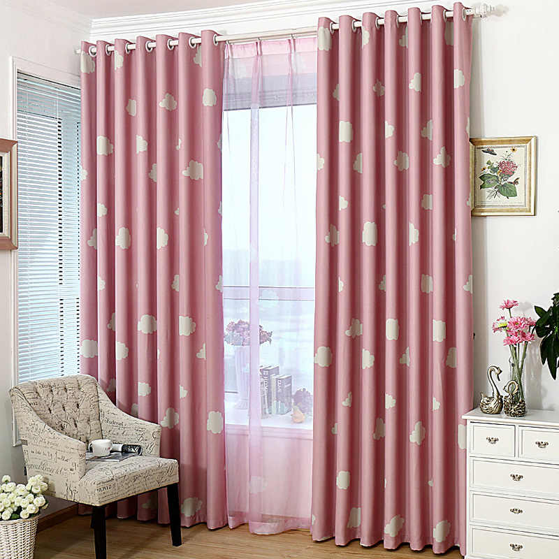 Blackout curtains cartoon kid bedroom child window treatment with tulle curtains panel modern short curtain blue sky cloud