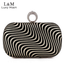 Famous Brand Women Zebra Evening Bag Crystal Ring Dinner Party Hand Bags 2017 Designer Ladies Metal Frame Mini Clutch Bag XA624H(China)
