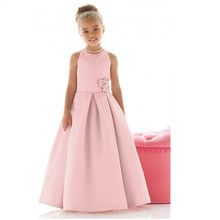 Wedding Party Dresses Draped Pageant Flower Girl Dresses Pink Satin Vestidos De Primera 2017  Comunion Girls Frock Designs