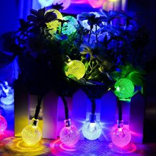 New year RGB 30 LED ball string Christmas light, Party,Wedding Decor,Holiday lights, outdoor solar power energe light Free ship(China)