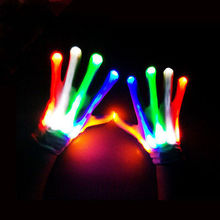 LED Finger Lighting Flashing Glow Mittens Gloves Rave Light Festive Event Party Supplies Luminous Cool Gloves