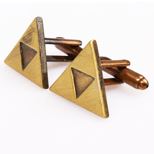 The Legent of Zelda Cufflink 2017 New Arrival Vintage Antique Gold Cufflinks High Quality Triforce Cuff Bottons for Men's Shirt(China)