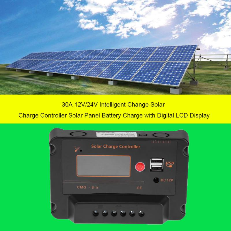 New 30A 12V/24V LCD Solar Power Panel System Regulator Charge Intelligent Controller Outdoor Travelling USB Charger <br>