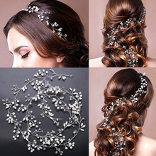 Handmade Bridal Crystal Rhinestone Hair Piece Women White Simulated-pearl DIY Headband Wedding Tiaras Crown hairband Accessories(China)