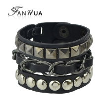 FANHUA Men Jewelry Hip Hop Rock Style Jewelry Black White Pu Leather Spikes Wrap Bracelets Bangles for Men and Women