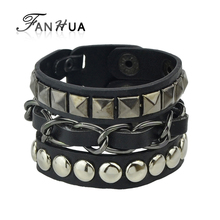 FANHUA Men Jewelry Hip Hop Rock Style Jewelry Black White Pu Leather Spikes Wrap Bracelets Bangles for Men and Women(China)