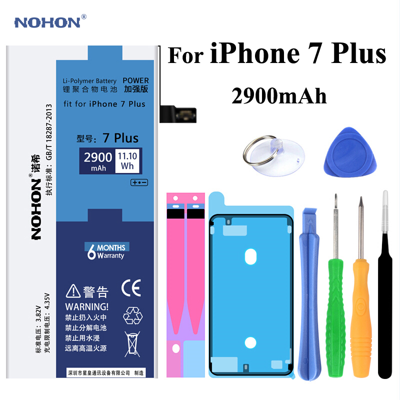 Original NOHON Battery Apple iPhone 7 Plus Phone 7Plus iPhone7 Plus Real Capacity 2900mAh Mobile phone Bateria +Free Tools