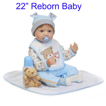 "22"" NPK silicone dolls reborn for sale  with dummy pacifier bebe boy reborn bonecas for children gift miniature baby doll"