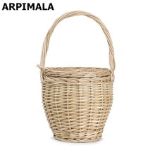 ARPIMALA 2017 Bohemian Straw Bags Women Summer Wicker Basket Bag Small Fashion Beach Handbags Ladies Hand Bag Tote Travel Clutch(China)