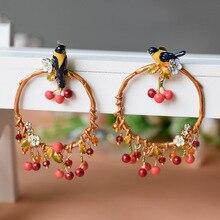 Франция Les Nereides Роскошные Птица Cherry Серьги Для Женщин Хорошее Качество Благородный Эмаль Пром Ювелирные Изделия
