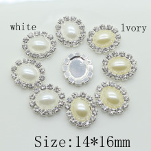 Oval 14*16mm pearl buttons Buby button rhinestone tray cap setting Wedding inviations decorate hair flower center scrapbooking