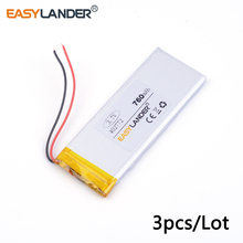 3pcs /Lot 3.7v lithium Li ion polymer rechargeable battery 402772 760MAH For iPhone 4 Mobile Phone battery pack Watch PDA(China)