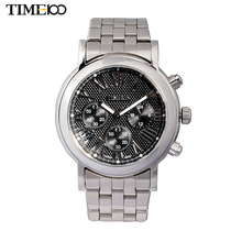 Time100 Men Casual Quartz Stainless Steel Strap Round Dial Fashion Roman Numeral Three-circle Wrist Watch For Men W80009G.01A(China)