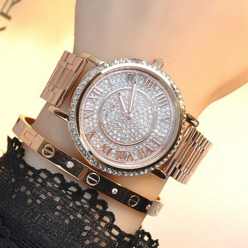 Relogio Feminino Luxury Women Watch Famous Brand Rose gold Ladies Fashion Full Crystal Design Bracelet Watches Reloj Mujer<br>