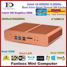 5th Gen. i3 CPU Fanless Mini Desktop PC, Thin Client, 8GB RAM+64GB SSD, 2xHDMI+2*LAN+2*COM, WiFi, Windows 7, 4K, 3 Year Warranty