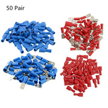100pcs 16-14AWG Insulated Spade Crimp Wire Cable Connector Splice Terminal Male/Female Kit Insulated Spade Connectors