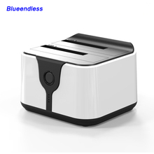 2-Bay harddisk box usb3.0 hdd external enclosure eu plug sata 2.5 case plastic sata external enclosure clone box ssd 2.5