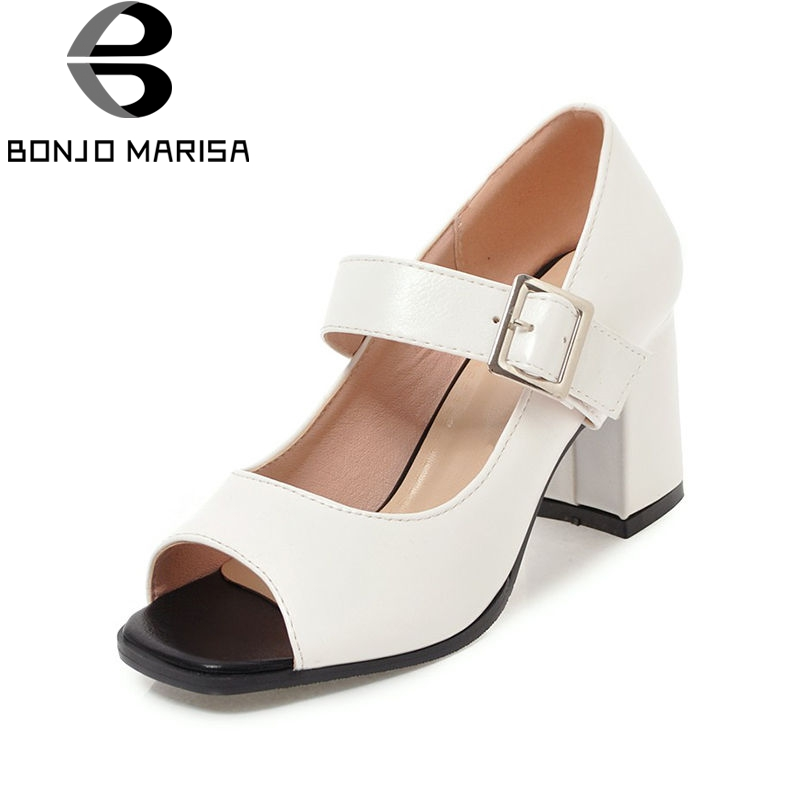 BONJOMARISA 2018 Summer Plus Size 33-47 Elegant Mary Janes Pumps Women Peep Toe High Chunky Heels Shoes Woman Shallow Ol Shoes<br>