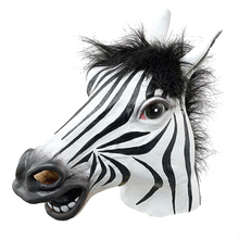 1Pcs Fun Halloween Mask Realistic Latex Horse Head Interesting Party Masquerade Masks Silicone Face Zebra Mask(China)