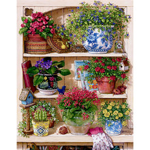 Warm Home Flower On The Shelf Diamond Embroidery Diy Square Diamond Painting Mosaic Picture Pattern Cross Stitch Full Rhinestone