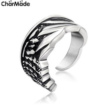Mens Stainless Steel Antiqued Half Angel Wing Open Class Ring Biker Jewelry Handsome Party Accessory Size 7-12 CharMade R623