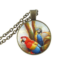 Parrot jewelry bird necklace glass cabochon pendant animal long necklace antique bronze necklaces for birds lover jewellery(China)
