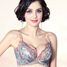 GZDL Sexy Women 3/4 Coverage Adjusted-Straps Peacock Print Embroidered Push Up Underwire Bra Cup 32 34 36 38 A B C 5012