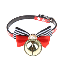 Pet Dog Collar Big Pearl Bow Leather Bell Pet Puppy Cat Accessories Leather Collars Red+ Black Pet Products