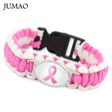 Hope Fighter Ribbon Breast Cancer Cure Childhood Brain Cancer Down Syndrome Awareness Paracord Survival Friendship Bracelet(China)