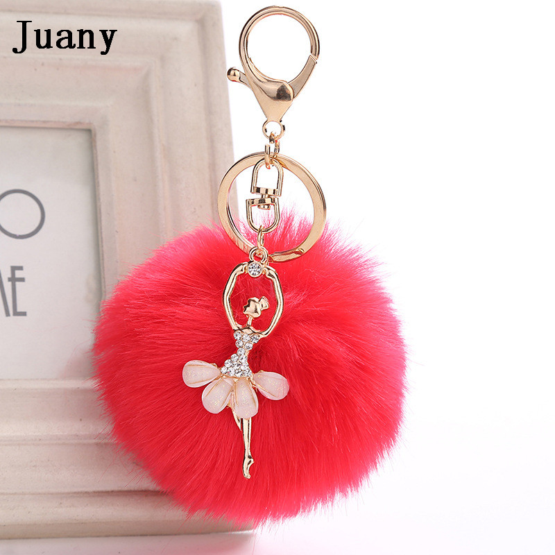 rabbit fur pompom key chain fake rabbit car keychain fur ball keychain pompom girl women charm bag  12