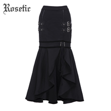 Rosetic Gothic Mermaid Skirt Black Autumn Women Sequined Lace-Up Goth Punk Bodycon Street Fashion Asymmetric Goth Trumpet Skirts(China)