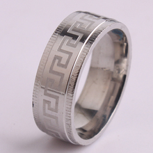 8mm silver Gear Edge carve Great Wall pattern 316L Stainless Steel finger rings for men wholesale
