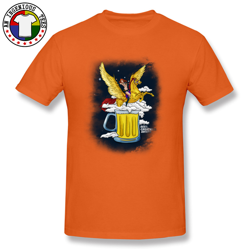 Beer Greatness Awaits Casual Tops Shirts Short Sleeve for Men Pure Cotton Summer Crew Neck T Shirts Custom Tees Fashionable Beer Greatness Awaits orange