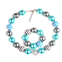 Fashion Christmas Gift Kids Beads Necklaces Chunky Bubblegum Charm Necklace with A Bracelet Girls Bling Ball Jewelry 1Set(China)