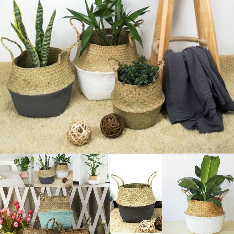 Rattan Straw Basket Wicker Seagrasss Folding Laundry Flower Pot Flower Vase Home Garden Hanging Basket Wedding 12x16x15cm