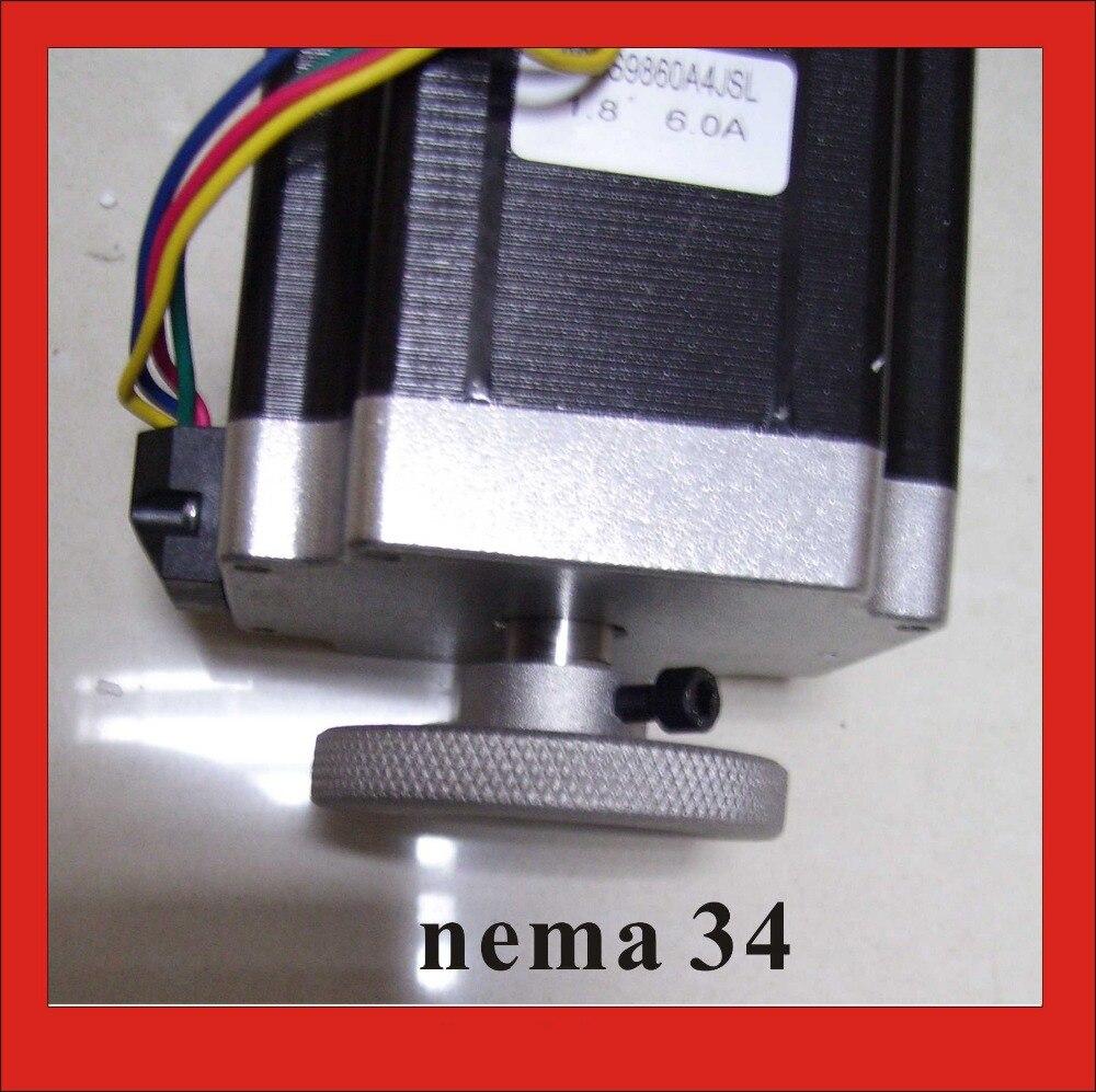 High Quality Dual Shaft NEMA 34 Stepper Motor with Handwheel 4N.m (556oz-in) Body Length 80mm CE Rohs CNC Stepping Motor<br>