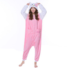 Cute Cartoon Hello Kitty Pajamas Women Long Sleeve Warm Flannel Winter Sleepwear Home Suit Christmas Halloween Costumes P077(China)