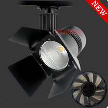 whole sale 40W 50W COB led track light, clothing store track spot lighting, high bright Black led track lights CE ROHS shop lamp(China)