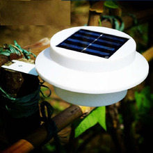 LED Solar Light Outdoor Solar Power 3 Led Light Garden Fence Yard Wall Gutter Pathway Lamp White + Bracket Solar Lights
