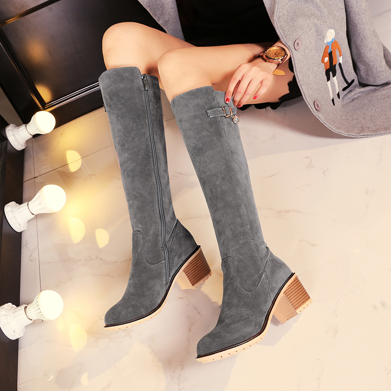 2017 New Women Stretch Faux Suede Slim Thigh High Boots Sexy Fashion Over the Knee Boots High Heels Woman Shoes size:34-43 C9-3<br><br>Aliexpress
