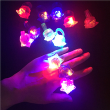 Hot Sale 20 PCS/LOT LED Finger Light Up Star Ring With LOVE Glow Party Night Club Toy Gift Wedding Christmas Festival Decoration(China)