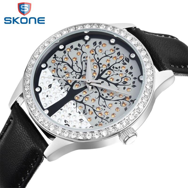 SKONE Brand Wrist Watch Women Leather Watches Ladies Creative Life Tree Quartz Watch Relogios Feminino 2017 Christmas Gift #9195<br>