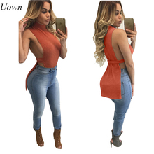 2017 Summer Sexy Low Cut Tops Orange Sleeveless Women Ladies Shirt Side Split T Shirt Party Clubwear Sexy Gal Funny Tee Blusa